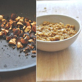 Cacerola de almendras tostadas y tazón de avena para preparar una deliciosa receta de desayuno