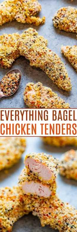 Todo Bagel Baked Chicken Tenders: ¡FÁCIL, listo en 15 minutos y perfectamente CRUJIENTE por fuera! Sabe a un bagel con pollo en el camino al horno y ¡BUENO! ¡No te molestes en freír el pollo cuando puedas hornearlo!