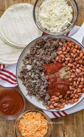Ingredientes para las enchiladas de carne molida en una olla rodeada de queso, salsa de enchilada y tortillas.