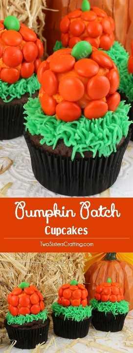 Estos cupcakes de Halloween Pumpkin Patch son súper adorables y son muy fáciles de hacer. Son un excelente postre de Halloween para una fiesta en el vecindario o un divertido aula de Halloween. Coloca este adorable postre de calabaza para más tarde y síguenos para más ideas divertidas sobre la comida de Halloween.