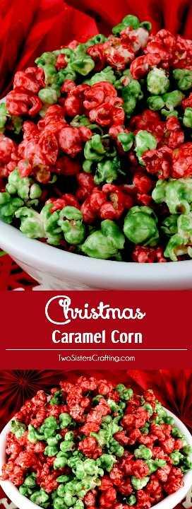 Maíz de caramelo de Navidad - Maíz de caramelo delicioso y mantecoso en rojo y verde para las fiestas. Y no es necesario el jarabe de maíz en este fácil regalo casero de Navidad. Estas divertidas y deliciosas palomitas de Navidad serían una excelente idea de postre navideño para una fiesta navideña o una canasta de regalos navideños. Pin este fácil Postre festivo para más tarde y síganos para obtener más ideas geniales de comida navideña. #Popcorn #Christmas #CaramelCorn #ChristmasDesserts #ChristmasTreats