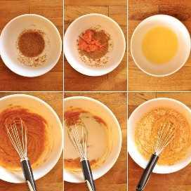 Serie de fotos que muestran cómo hacer la masa de waffle de pan de maíz vegano