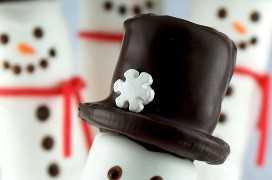 Decorando a pipoca de Marshmallow Snowmall