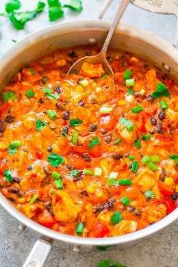 15 minutos de frango com queijo Taco Skillet: Tacos com um desejo menos todos os carboidratos vazios? Esta frigideira de taco fácil sem tortilhas é PERFEITO! Rápido, FÁCIL, repleto de sabores incríveis de inspiração mexicana e é super QUEIJO!