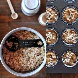 Muffin lata rellena con muffins de calabaza veganos y listos para hornear junto con ingredientes para cubrir