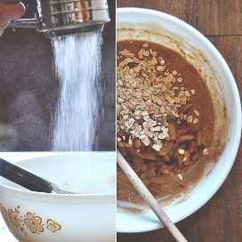 Tamizar la harina en un tazón de masa de muffin de manzana y calabaza vegana