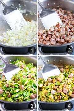 Un collage de imágenes que muestra cómo saltear las coles de Bruselas con jamón sobrante en cubos.