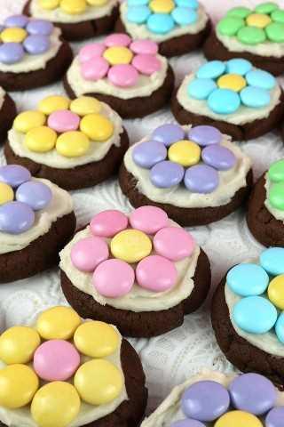 Las mordeduras de galletas de flores de primavera son mini-galletas dulces y de chocolate cubiertas con nuestras mejores glaseado de crema de mantequilla y flores M&M. Fácil y delicioso y muy muy bonito!