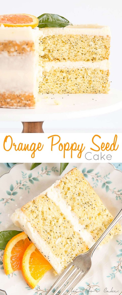 Tender Orange Poppy Seed Cake capas con un delicioso glaseado de mascarpone.