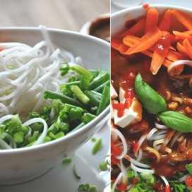 Tazón de nuestra receta de fideos asiáticos en la foto con ingenio y sin aderezo