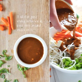 Verter el aderezo hecho en casa de jengibre y cacahuate en un tazón de fideos asiáticos