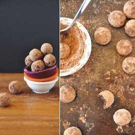 Lote de nuestra receta de trufas veganas crudas recubiertas con polvo de cacao