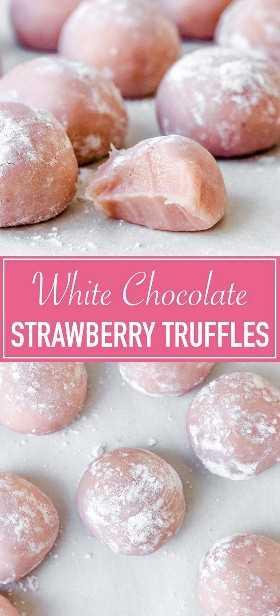 Trufas De Fresas De Chocolate Blanco Fudgy