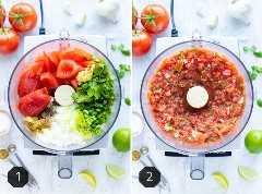 Antes y después de la foto que muestra cómo hacer salsa en un procesador de alimentos.