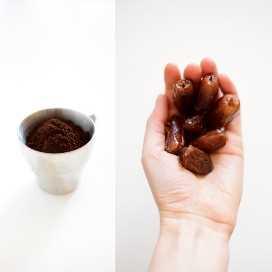 Café expreso y fechas para hacer nuestra deliciosa receta de Brownies crudos