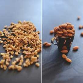 Nueces y almendras para hacer Brownies de nuez cruda