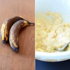 Plátanos frescos y un tazón de puré de plátanos para hacer mordidas de pan de plátano
