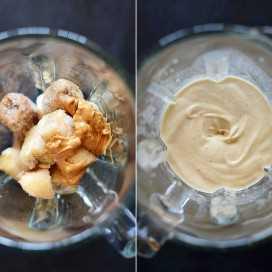 Batidora rellena con nuestra receta de Blizzard de mantequilla de maní y plátano