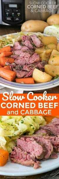 Dos fotos de Crock Pot Corned Beef y col con zanahorias y papas en un plato blanco