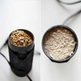Molinillo de café relleno de avena para mostrar cómo hacer harina de avena