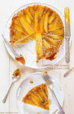 Torta al revés de plátano CC - caramelizado - ¿Tiene plátanos maduros? Esta torta tiene su nombre por todas partes! Chorreando con rica, mantecosa, salsa de caramelo!