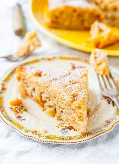 Melocotón y pastel de muffin esponjoso crema - Receta en averiecooks.com