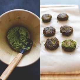 Tazón y tabla para cortar con falafel vegano sin gluten