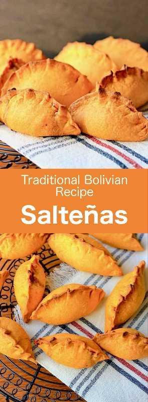 Las salteñas son la versión boliviana de empanadas, pequeñas pérdidas de balón rellenas de carne, caldo de gelatina, huevo duro y especias. # Bolivia #BolivianCuisine #BolivianFood #BolivianRecipe #WorldCuisine # 196flavors