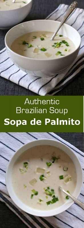 Sopa de palmito es un corazón cremoso de sopa de palma que a menudo se sirve caliente, pero también es delicioso cuando se saborea frío. #Brasil # 196 sabores