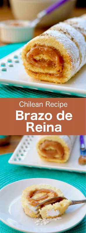 El brazo de la reina (aussi appelé pionono) es un délicieux gâteau roulé traditionnel chilien, fourré de dulce de leche y saupoudré de noix de coco. #Chile #ChileanCuisine #ChileanRecipe #ChileanFood #WorldCuisine # 196flavors