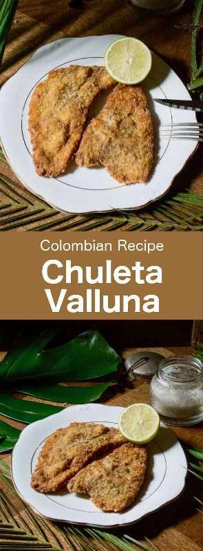 La chuleta valluna es un plato típico de la región del Valle del Cauca de Colombia. Se prepara con lomo de cerdo empanado y es similar al schnitzel. #Colombia #ColombianCuisine #LatinAmerica #LatinAmericanCuisine #WorldCuisine # 196flavors