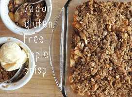 Plato para hornear y cuencos de manzana vegana sin gluten crujiente