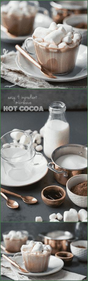 ¡El mejor cacao caliente de la historia y tan sencillo de hacer! Hice esto en mi microondas: tardé un poco más de un minuto y ya tenía todos los ingredientes a mano.