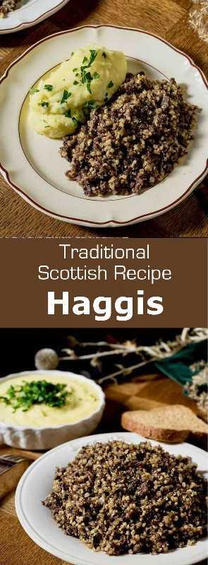 El Haggis es un plato tradicional escocés que consiste en el sabor de la oveja picada sazonada y condimentada cocinada en el estómago del animal. #UnitedKingdom #Scotland #ScottishCuisine #EnglishCuisine #BritishCuisine #ScottishFood #EnglishFood #BritishFood #ScottishRecipe #EnglishRecipe #BritishRecipe #WorldCuisine # 196flavors