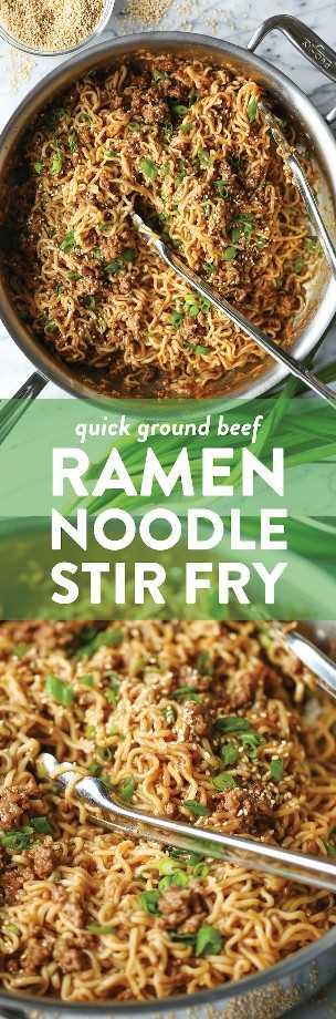 Quick Ramen Noodle Stoodle Fry - Rápido, fácil y económico con fideos ramen y carne molida para un salteado increíble que toda la familia adorará.