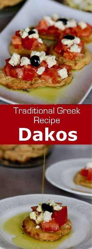 Dakos consiste en una rebanada de paximadi con tomate y queso feta o queso mizithra rociado con una generosa dosis de aceite de oliva virgen extra. #Grecia #GreekCuisine #GreekFood #GreekRecipe #MediterraneanCuisine #WorldCuisine # 196flavors