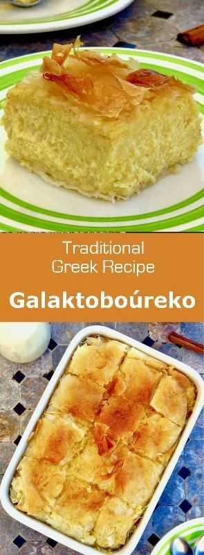 Galaktoboúreko (Γαλακτομπούρεκο) es un postre tradicional griego hecho de pasta filo y crema de pasta de limón y / o vainilla empapada con almíbar. #Grecia #GreekCuisine #GreekFood #GreekRecipe #MediterraneanCuisine #WorldCuisine # 196flavors
