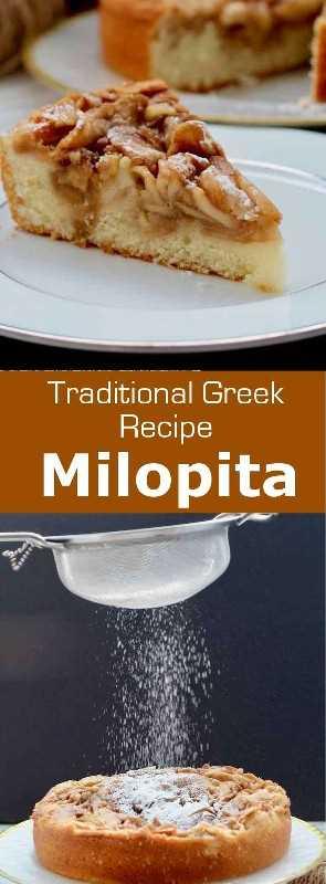 Milopita (μηλόπιτα) es la versión griega tradicional de la tarta de manzana con canela, a medio camino entre una masa de pastel suave y una pasta. #Grecia #GreekCuisine #GreekFood #GreekRecipe #MediterraneanCuisine #WorldCuisine # 196flavors