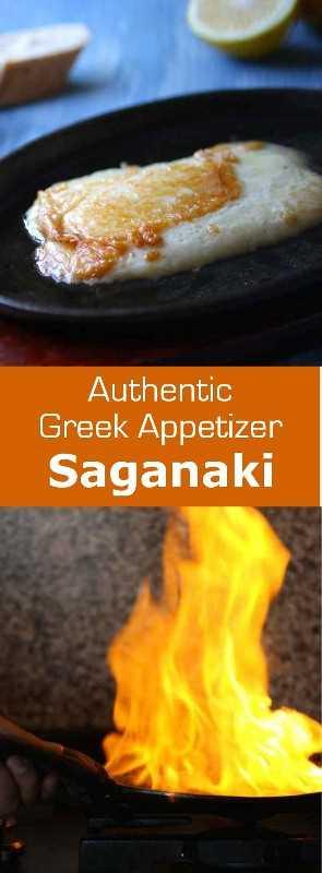 ¡El queso saganaki es el famoso meze griego que consiste en queso frito que se quema con el brandy de Brandy al grito de Opa! # Griego #cheese #appetizer # 196flavors