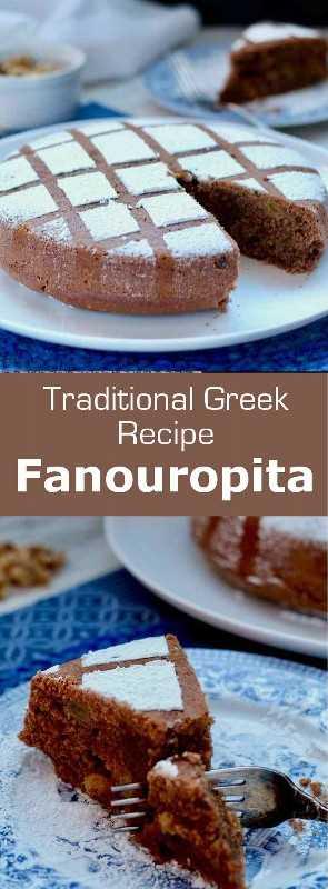 Fanouropita (φανουρόπιτα) es una torta griega tradicional preparada el 27 de agosto, el día de San Phanourios, que consiste en pasas y nueces. #Grecia #GreekCuisine #GreekFood #GreekRecipe #MediterraneanCuisine #WorldCuisine # 196flavors