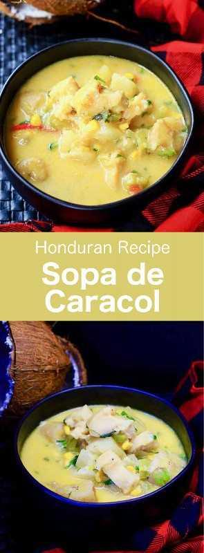 Sopa de caracol es una sopa tradicional de caracol de Honduras. Varias versiones de esta deliciosa sopa de mariscos también son populares en toda América Latina y el Caribe. #Honduras #HondurasComida #HondurasRecipe #HondurasReceta #HondurasCuisine #WorldCuisine # 196flavors