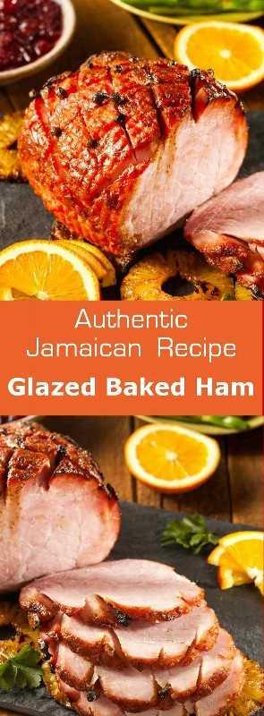 El jamón cocido glaseado es un plato navideño tradicional deliciosamente glaseado en Jamaica y en otras partes del Caribe. #Christmas #Jamaica # 196flavors