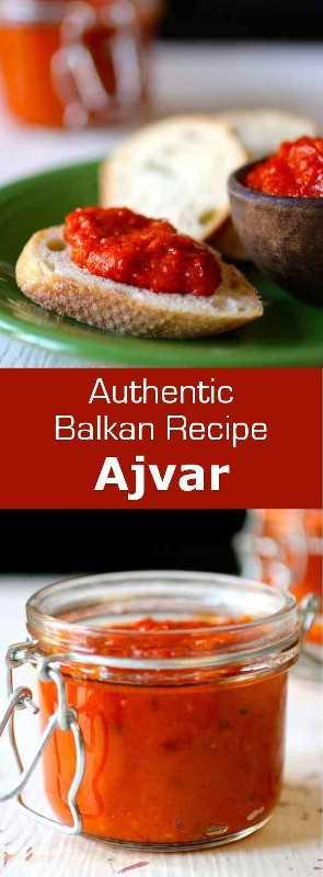 Ajvar es una crema de berenjena y pimiento rojo que es fácil de hacer y deliciosamente picante y es popular en los Balcanes. # Balcanes # 196 sabores