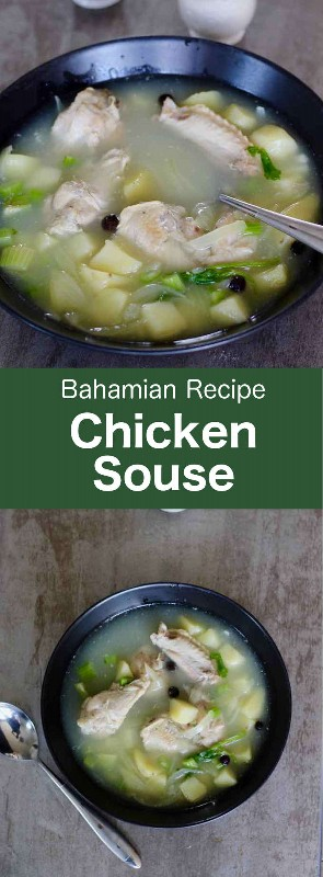 El souse de pollo es una sopa de las Bahamas que, al igual que otros souses, es un caldo claro en el que la carne y las verduras se reducen en jugo de cítricos frescos. #Bahamas #BahamianCuisine #Soup #WorldCuisine # 196flavors