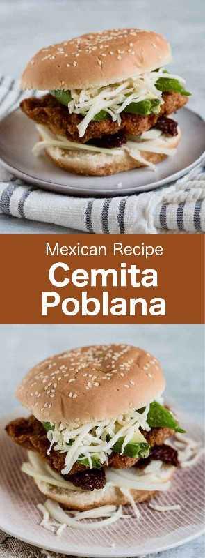 Cemita poblana es un sándwich tradicional mexicano que se rellena con pollo empanado, cerdo o ternera, así como aguacate, queso de Oaxaca y chipotles. #Mexican #MexicanFood #MexicanCuisine #MexicanRecipe #WorldCuisine # 196flavors