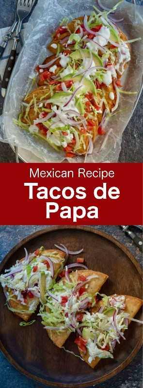 Los tacos de papa son tacos fritos crujientes rellenos de puré de papas sazonados y generosamente coronados con queso panela, cebollas, tomates y lechuga. #Mexican #MexicanFood #MexicanCuisine #MexicanRecipe #WorldCuisine # 196flavors