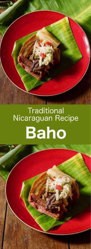 Baho (o vaho) es una receta tradicional nicaragüense que se prepara con carne de res, plátanos y yuca, y que se cocina en hojas de plátano. #Nicaragua #NicaraguaComida #NicaraguaReceta #NicaraguaCocina #MundoCocina # 196flavores