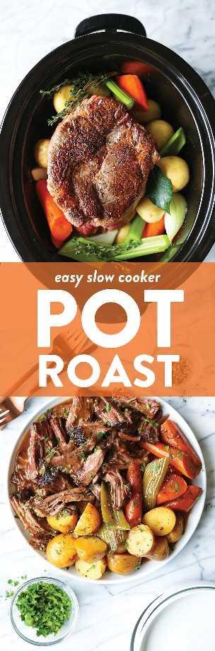 Asador de olla de cocción lenta: ¡el asado de olla asombrosamente hecho de manera desordenada hecho en tu crockpot con las verduras más tiernas! Y la salsa es simplemente la perfección.