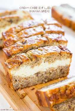 Pan de plátano relleno de queso crema - ¡El pan de plátano es como hornear un pastel de queso! Suave, esponjosa, fácil y sabe ahhhh-mazing!