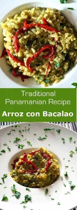 Arroz con bacalao, o arroz con bacalao salado es una deliciosa comida de una olla popular en todas las islas de habla hispana, incluida Panamá. # pescado #risco #entre #maindish #panama #latincuisine